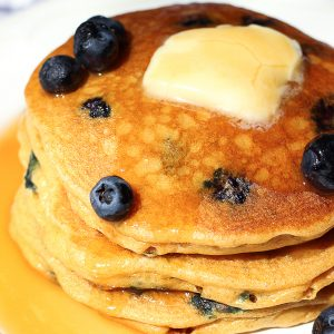 Whole Wheat Blueberry Blender Pancakes