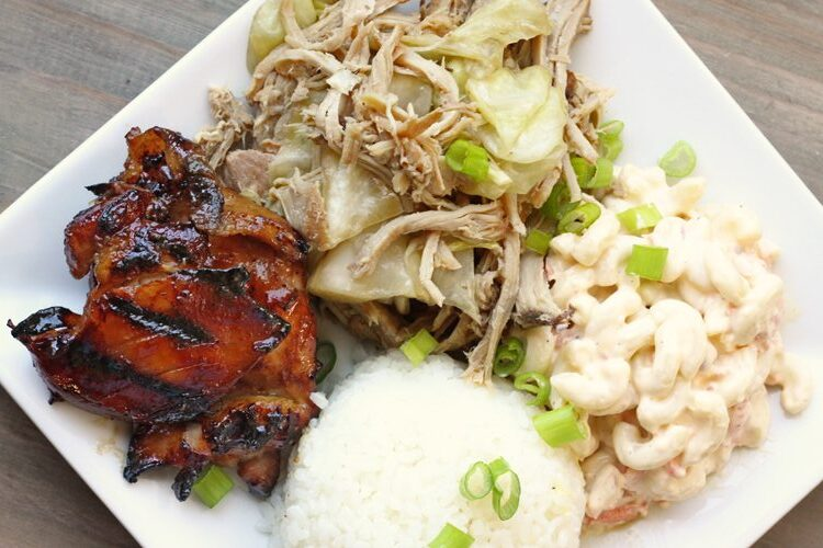 Hawaiian Lunch plate with pork, white rice, mac salad, and teriyaki chicken.