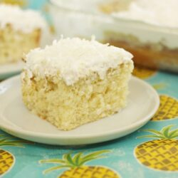 Pina Colada Poke Cake is bursting with coconut and pineapple. The topping on this cake is to die for! It is the perfect summer dessert!