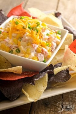 Creamy Corn Dip with Tortilla Chips