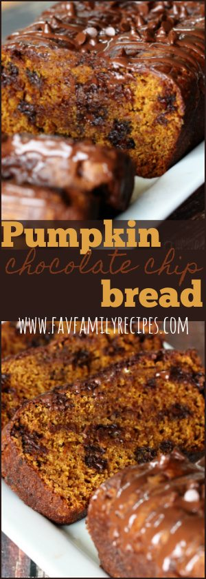 This pumpkin chocolate chip bread has been a favorite in our family for years! It is perfectly dense and moist just how a good pumpkin bread should be. #pumpkin #pumpkinbread #fallrecipes #bread #chocolatechipbread #fallfavorites #favoritefamilyrecipes #favfamilyrecipes