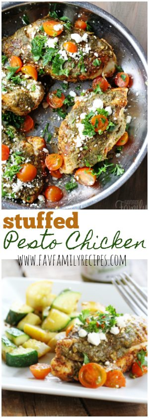 This Stuffed Pesto Chicken recipe turns a chicken breast into a gourmet entree! The chicken is stuffed with feta cheese and topped with pesto and spices.