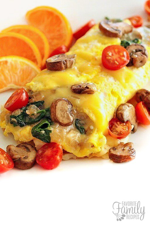 Close up of an omelet