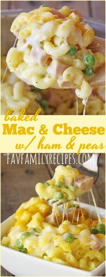 Homemade macaroni and cheese with ham and peas is a perfect, quick meal that is always creamy (NEVER grainy). Get creative with the add-ins and toppings! #macaroniandcheese #macandcheese #dinner #ham #onedishdinner #peas #bakedmacandcheese #cheese #cheesy #creamymacandcheese #glutenfree
