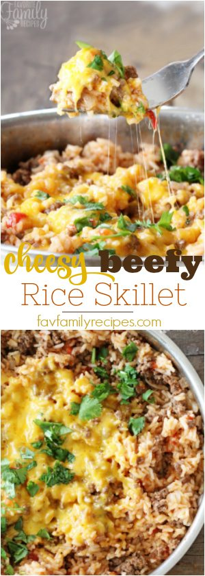 Cheesy Beefy Rice Skillet is an easy, delicious one pot meal for any night of the week. Have dinner on the table in less than 30 minutes!  #onepotmeal #rice #cheese #beef #30minutemeal #dinnerin30 #groundbeef #dinner #onepot #easydinner #cheesy