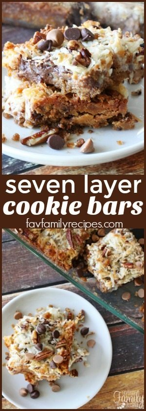 Seven Layer Cookie Bars are always a hit! A quick and easy dessert that requires very little effort. Chewy, chocolatey, crunchy, and oh SO good! #cookiebars #cookies #chocolate #dessert #magiccookiebars #dessertbars