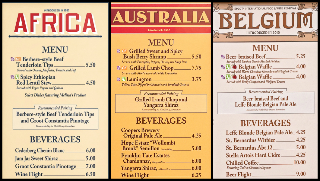 Menus from Africa, Australia, and Belgium at the Global Marketplace at the Epcot Food and Wine Festival
