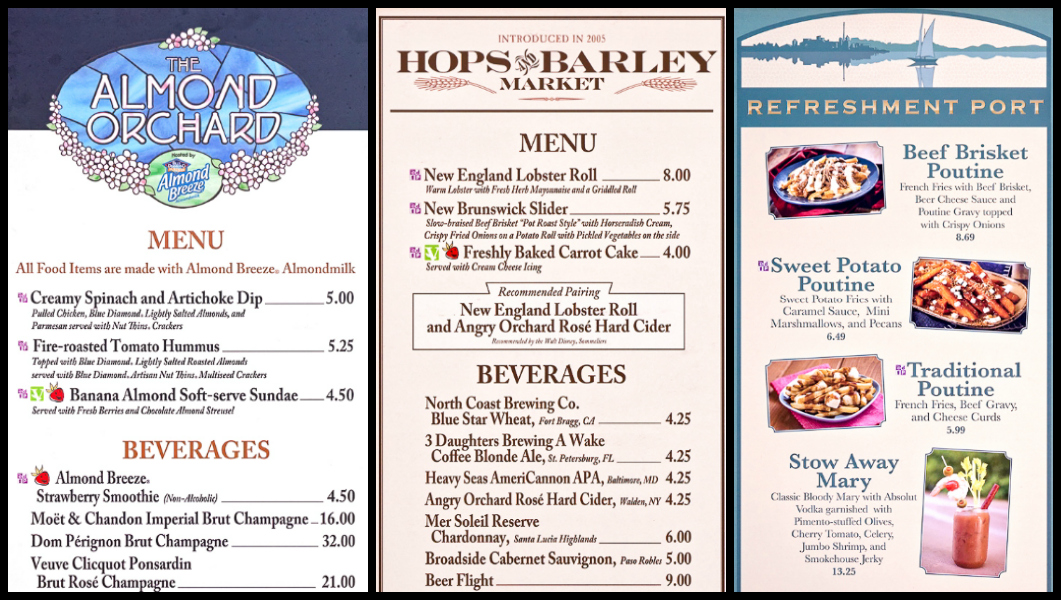 Menus from The Almond Orchard, Hops and Barley, and the Refreshment Port at the Epcot Food and Wine Festival