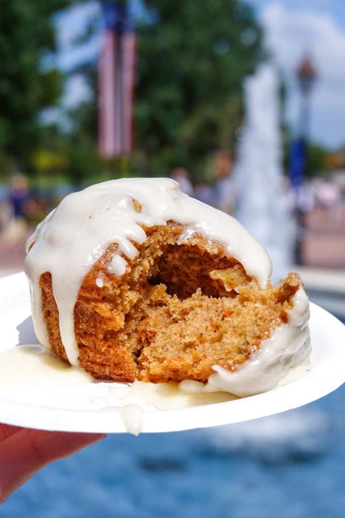Freshly baked carrot cake with cream cheese frosting from Hops and Barley at the Epcot Food and Wine Festival