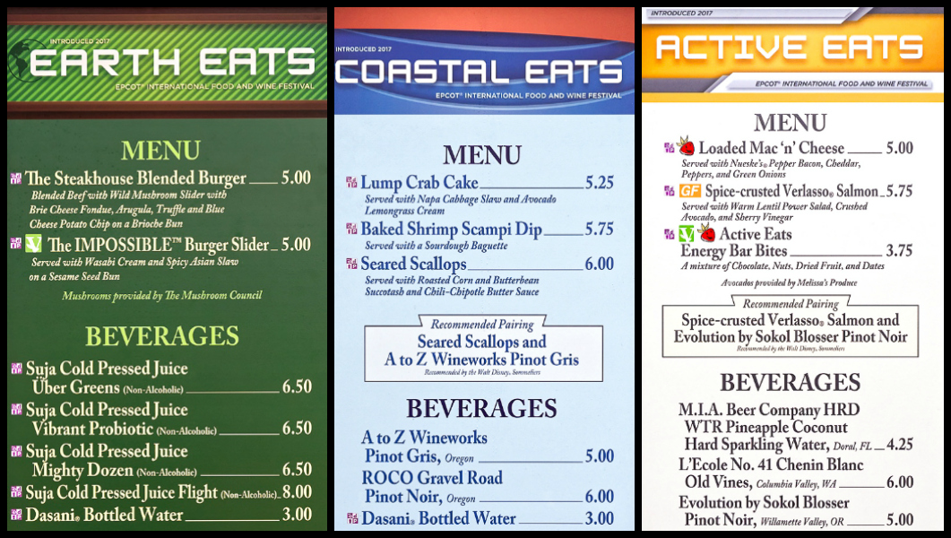Menus from Earth Eats, Coastal Eats, and Active Eats at the Epcot Food and Wine Festival