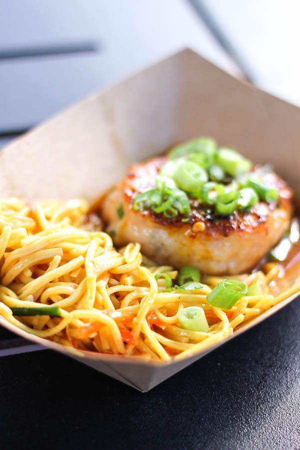 Seared Shrimp and Scallop Cake with Cold Noodle Salad from the Thailand Global Marketplace at the Epcot Food and Wine Festival