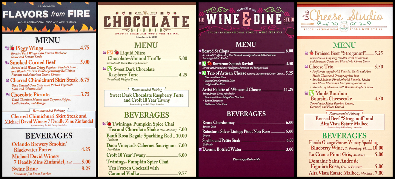 Menus from Flavors from Fire, The Chocolate Studio, The Wine and Dine Studio, and The Cheese Studio at the Epcot Food and Wine Festival