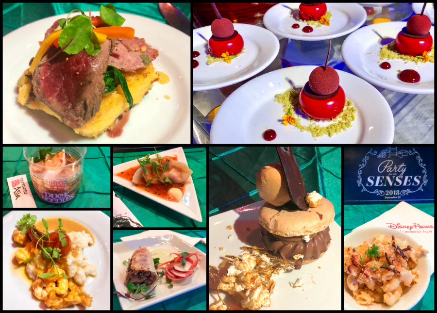 Desserts, entrees, and appetizers at the Party for the Senses at Epcot Food and Wine Festival