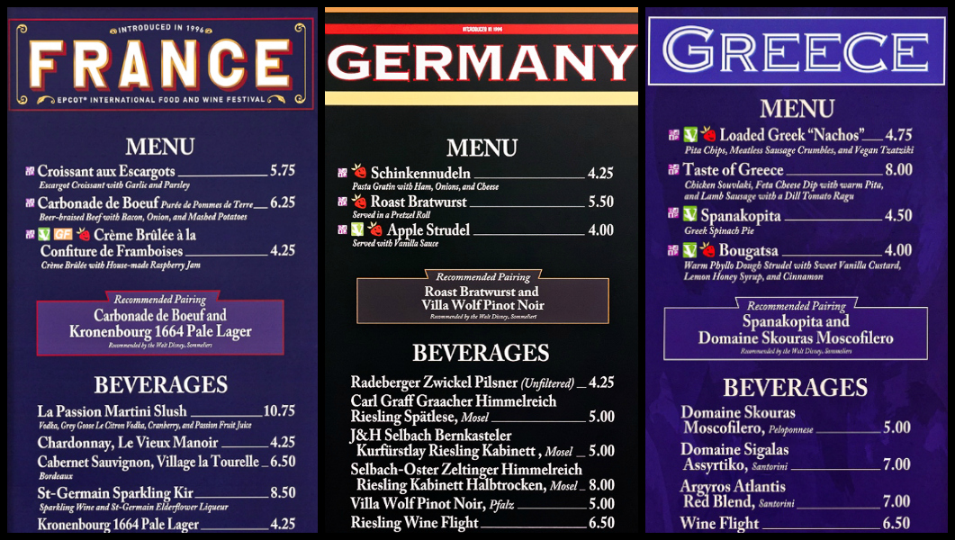 Menus from France, Germany, and Greece at the Global Marketplace at the Epcot Food and Wine Festival