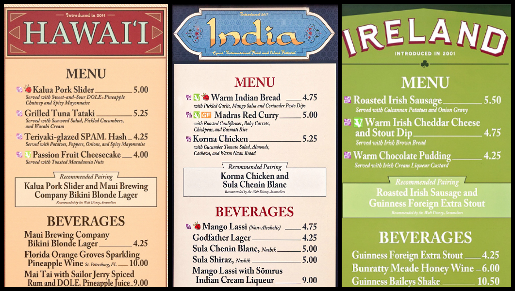 Menus from Hawaii, India, and Ireland at the Global Marketplace at the Epcot Food and Wine Festival