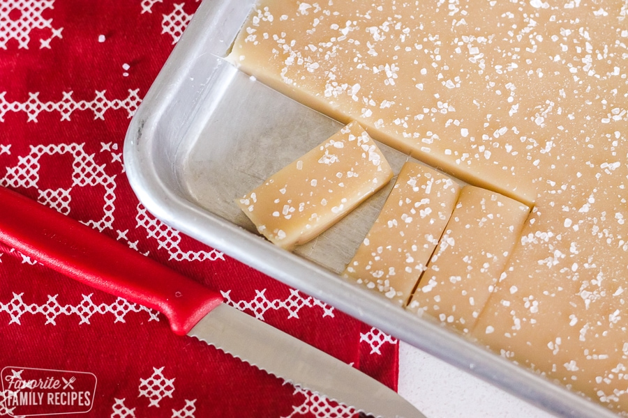 Homemade salted caramels in a pan
