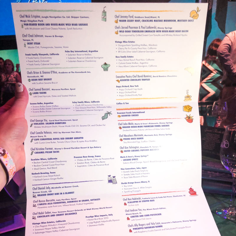 Party for the Senses Menu at Walt Disney World Resort Epcot Food and Wine Festival