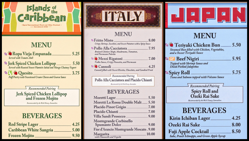 Menus from Islands of the Caribbean, Italy, and Japan at the Global Marketplace at the Epcot Food and Wine Festival