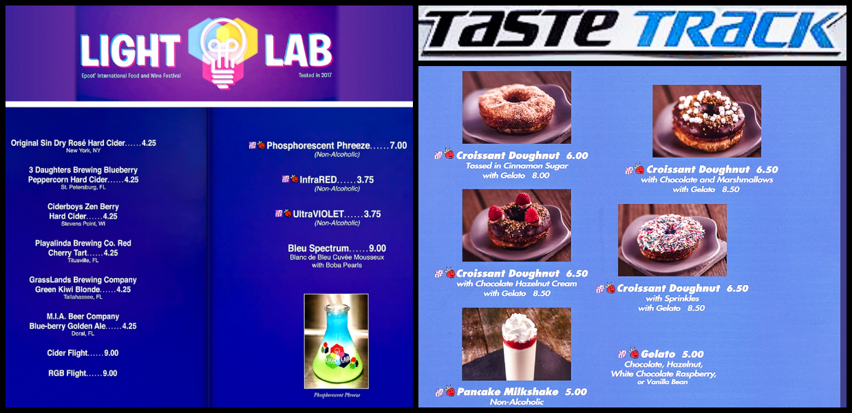 Menus from the Light Lab and Taste Track at the Epcot Food and Wine Festival