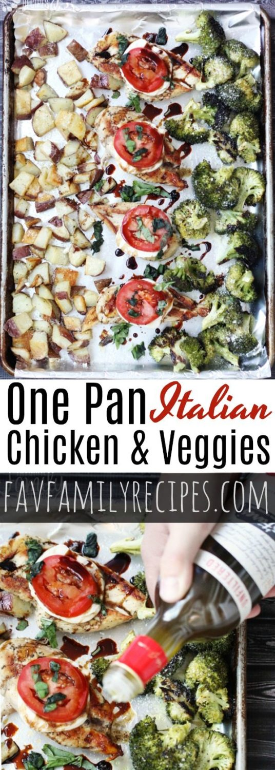 One pan chicken and veggies is an easy meal for those busy nights. A Caprese style chicken with herb roasted potatoes and broccoli all on one sheet pan! #onepandinner #sheetpandinner #chicken #chickenandveggies #onepanmeal #potatoes #chickenandpotatoes #roastedbroccoli #roastedpotatoes #Italian #onepanchickenandveggies #sheetpanchickenandveggies