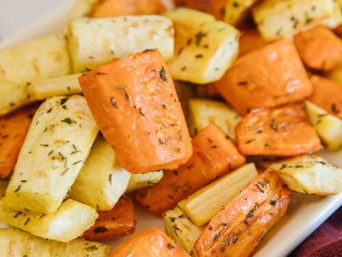 Roasted carrots and parsnips Pinterest image