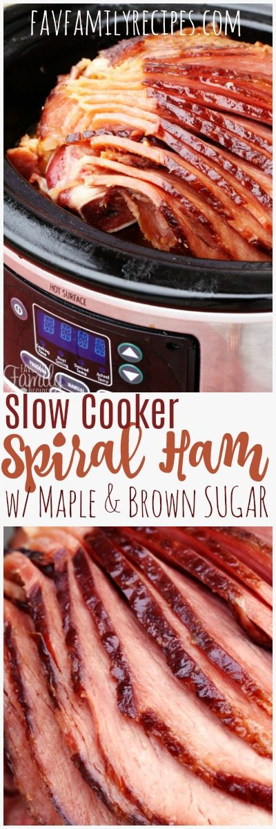 This slow cooker spiral ham with maple and brown sugar is a favorite of ours around the holidays! So much flavor and NEVER dry. #ChristmasHam #ChristmasDinner #HamDinner #HamLeftovers #LeftoverHam #CrockPotHam #SlowCookerHam #Easter #EasterDinner #EasterHam #SpiralHam #MapleHam