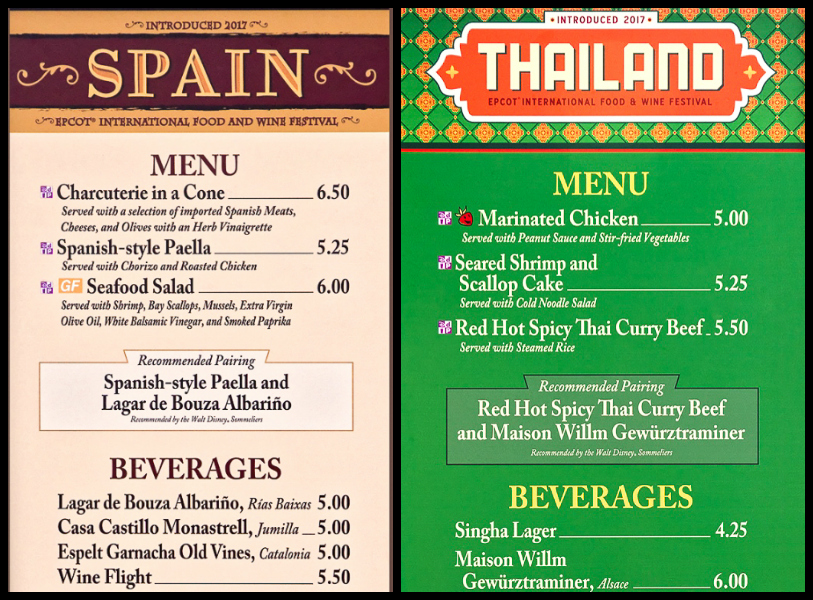 Menus from Spain and Thailand at the Epcot Food and Wine Festival