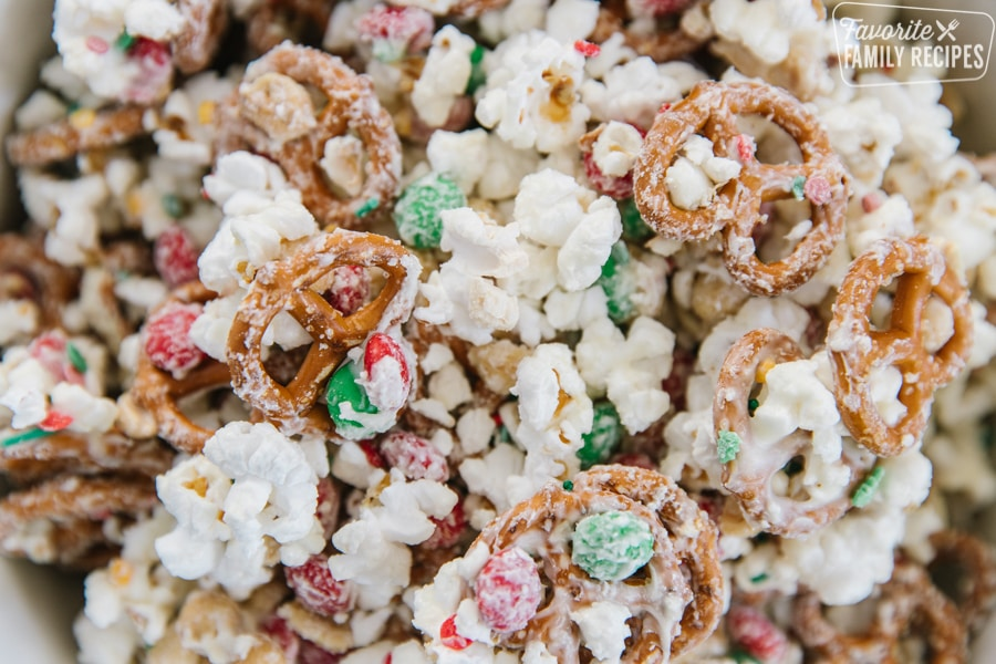 Close up Christmas crunch with pretzels, popcorn, and M&M's