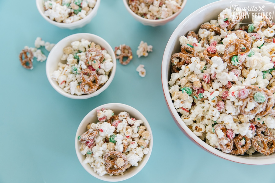 Christmas crunch snack mix in serving bowls