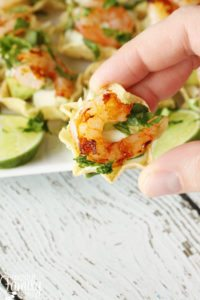 Shrimp Taco Bites with Cilantro Cream Sauce