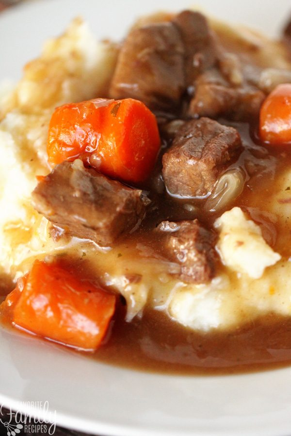 Extreme close up of beef goulash