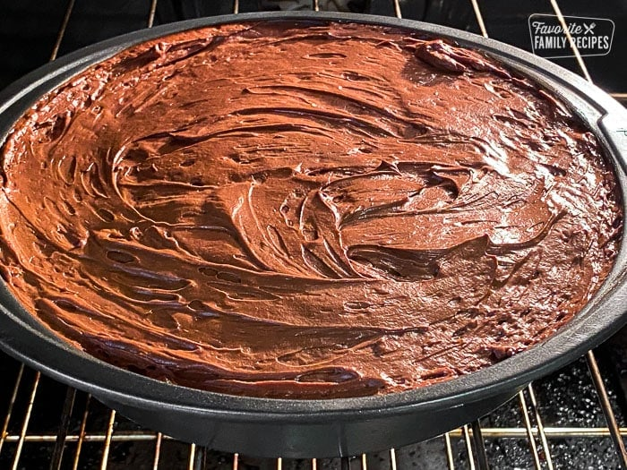Flourless Chocolate Cake in the Oven