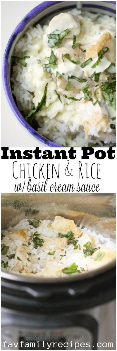 This Instant Pot Chicken and Rice is a WINNER. You cook the chicken and rice together in the Instant Pot which makes this dish SO easy. The basil cream sauce is to die for! #chicken #InstantPot #chickenandrice #rice #dinner #easydinner #favoritefamilyrecipes