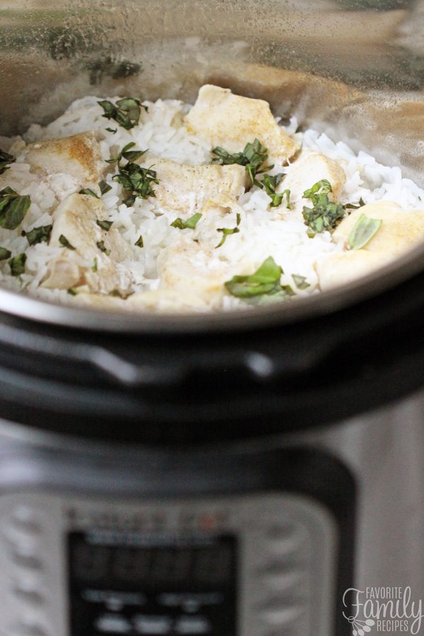 Close up of Instant Pot Chicken and Rice with Basil Cream Sauce