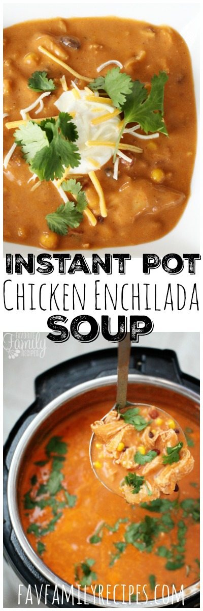 This Instant Pot Chicken Enchilada Soup can be thrown together in a pinch and is ready to eat in about 30 minutes. One pot. One mess. One delicious meal. #instantpot #soup #enchiladasoup #dinner #onepotmeal #one pot #chicken #recipe