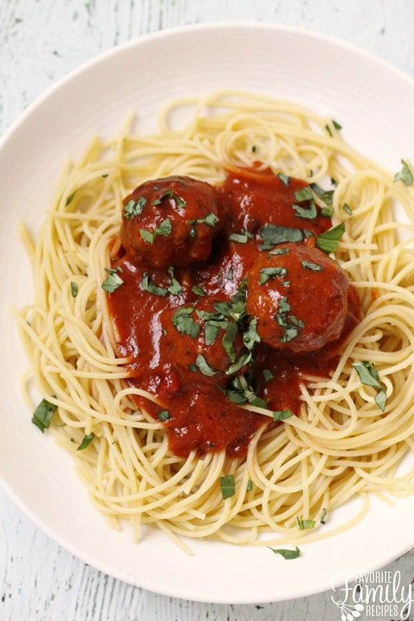 Spaghetti on a plate topped with meatballs