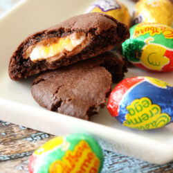 Chocolate Easter Cookies on a platter with Cadbury Creme Eggs