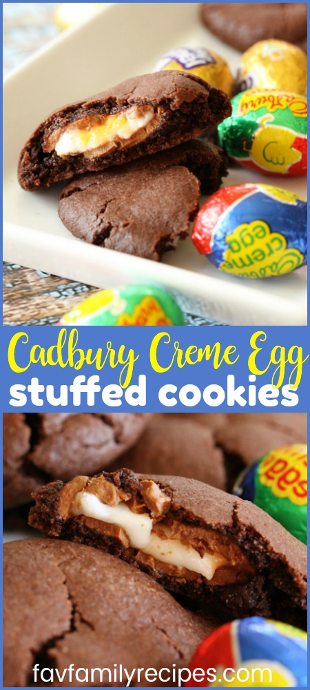 Cadbury Creme Eggs stuffed into a cookie? YES, PLEASE. These little morsels are so chocolatey, creamy, and rich, they will quickly become your favorite Easter cookies. #Easter #EasterCookies #Cookies #Chocolate #CadburyCremeEggs