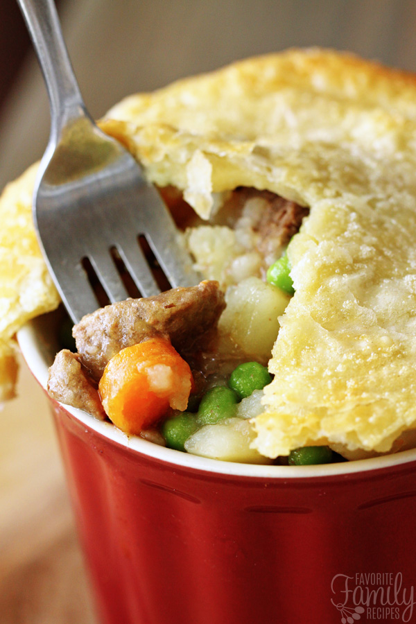 Beef Pot Pie with Beef and Vegetable Filling and Golden Crust