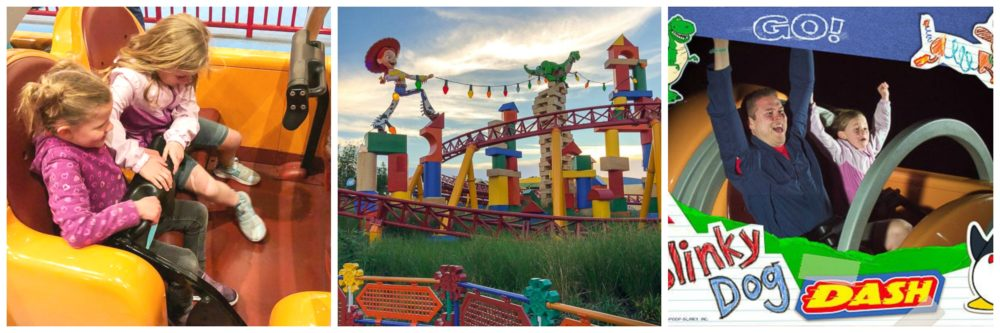 Images of the Slinky Dog Dash ride in Toy Story Land in Disney's Hollywood Studios