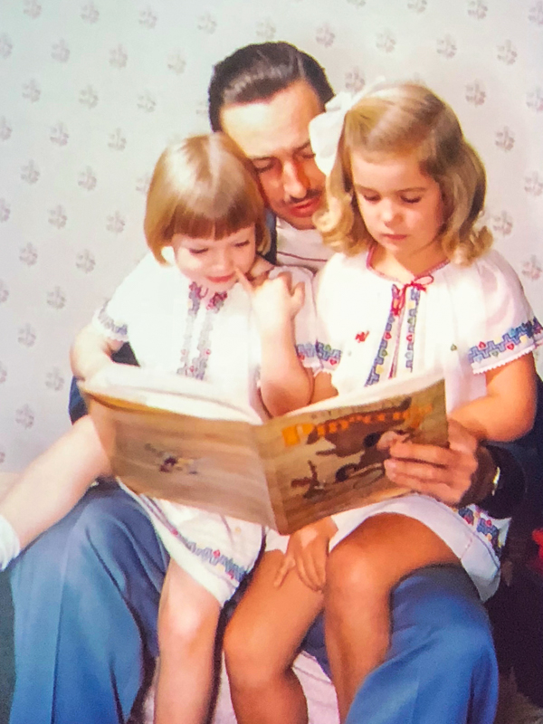 Walt Disney and His Two Daughters