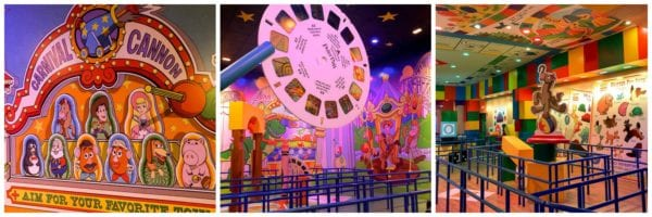 Images from the cue in Toy Story Mania