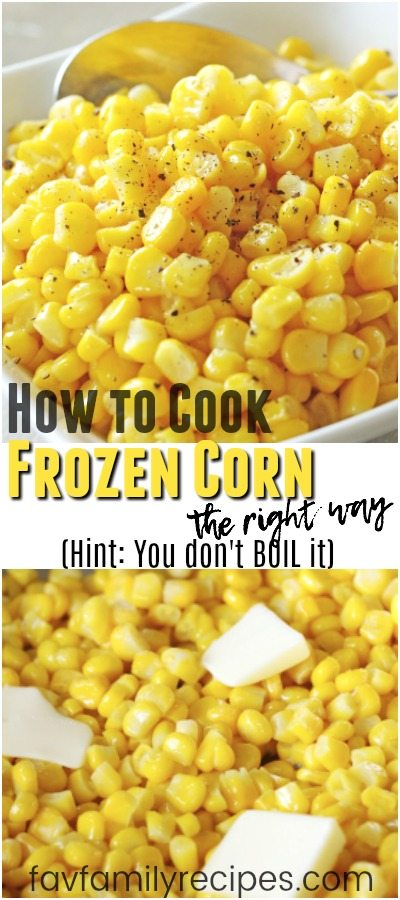 Wanna know the secret to making frozen corn taste delicious? Hint: You don't BOIL it (or steam it). Kick your corn side dish up a notch and give this a try! #frozencorn #cornsidedish #sidedish #corn #seasonedcorn #howtocookcorn #cornrecipe #freshcorn