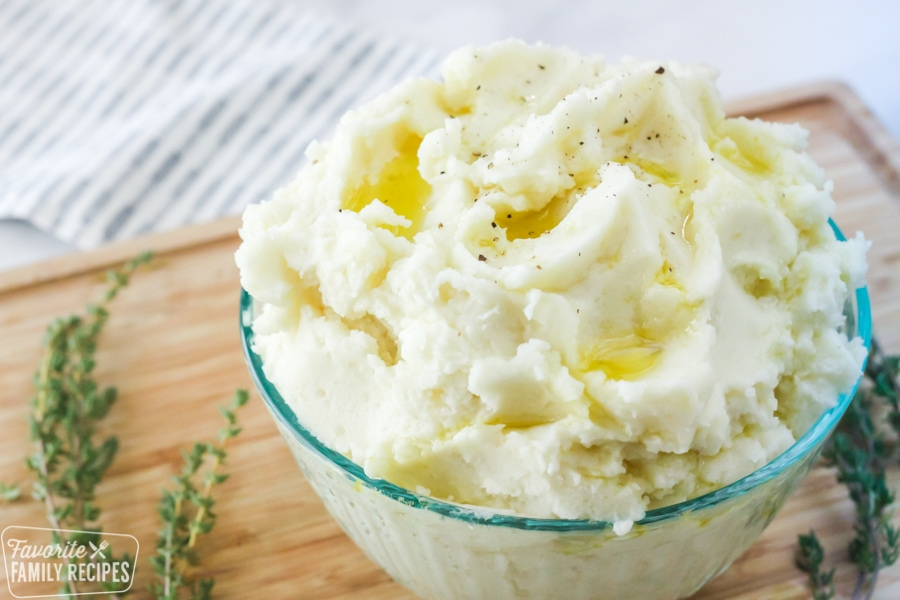 Fluffy mashed potatoes in a bowl