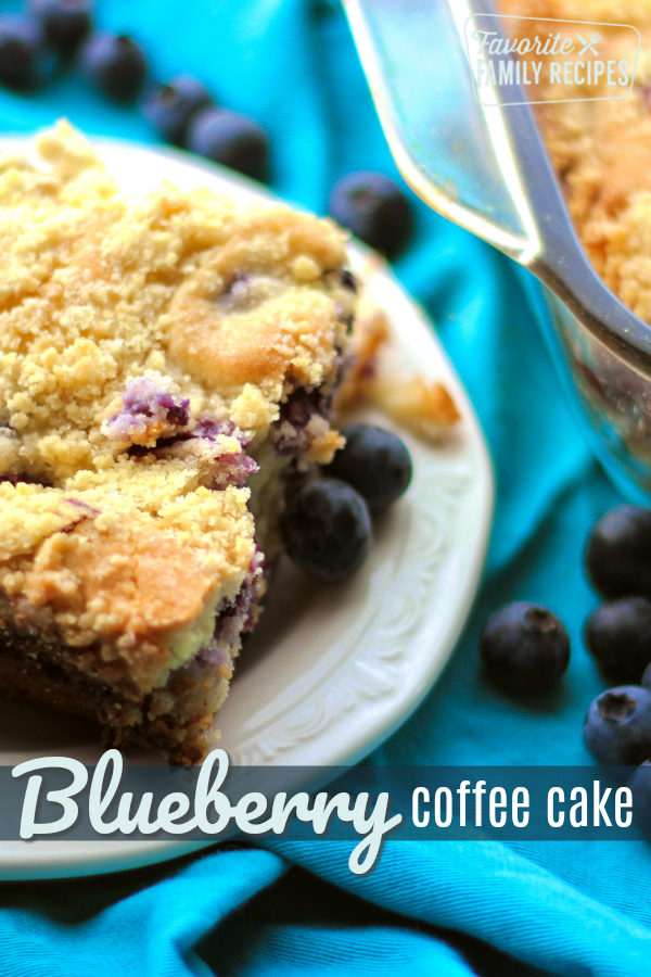 Blueberry Cream Cheese Coffee Cake is perfect for Sunday brunch.  It's swirled with sweet cream cheese and fresh blueberries with a sugary crumb topping. #coffeecake #blueberry #CreamCheese #blueberries #SundayBrunch #Brunch #BrunchRecipes #Recipes #Breakfast #BreakfastRecipes