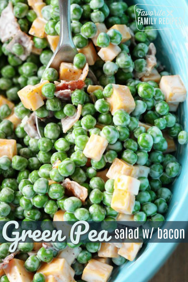 Pea Salad is alway a favorite side dish at BBQs. You will love how EASY it is to make! Keep it simple or add more mix-ins for added flavor. #peasalad #salad #bbqsalad #potluck #bbq #sidedish #peas #bacon #cheese #glutenfree #lowcarb #creamy #summer #spring #creamysalad #picnic #picnicfood #campingfood #familybbq #greenpeas #sweetpeas