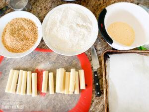 Mozzarella sticks ingredients laid out