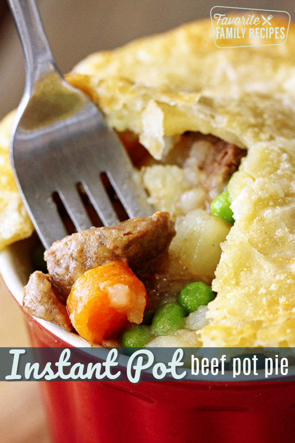 Beef pot pie couldn't be easier when you make the filling in the Instant Pot! You will get extra tender beef and perfectly cooked vegetables every time. #InstantPot #pressurecooker #beef #potpie #onedishdinner #puffpastry #freezermeal #beefpotpie #dinner #easymeals #familyrecipes #steak #roast #recipe #comfortfood #familydinner #onedish