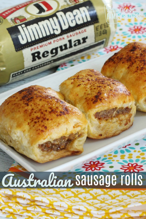 Australian Sausage Rolls are a seasoned sausage wrapped in a flaky, buttery pastry.  They are delicious for breakfast, lunch, or dinner, or as an appetizer.  #sausagerolls #aussiefood #pastry #sausage #jimmydean #appetizer #lunch #snack #porksausage