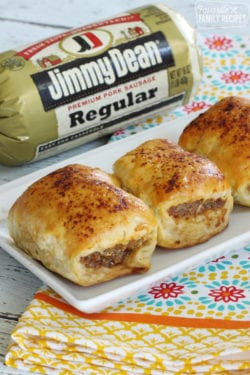 Australian sausage rolls made from Jimmy Dean sausage, wrapped in a pastry dough, and baked until golden brown